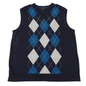 Banana Republic Silk Argyle Sweater Vest XL